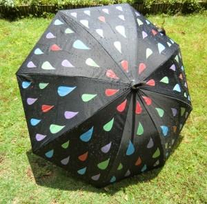 水にぬれると色が変わる、レインドロップ柄の傘