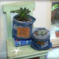 デニムの植木鉢