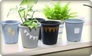 植木鉢にお手軽ステンシル